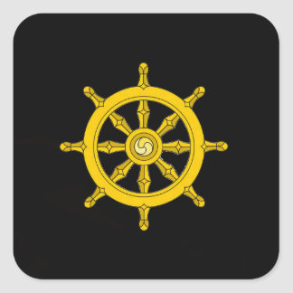 Roue d'autocollant de Dharma - noir Sticker Carré