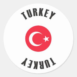 Roue de drapeau de la Turquie Sticker Rond