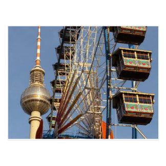 Roue de Ferris avec la tour de Berlin TV, Alex, Carte Postale