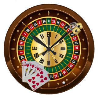 roue de roulette et horloge murale de cartes