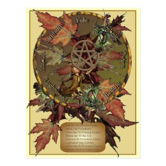 Roue de Wiccan avec la carte postale de
