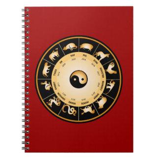 Roue de zodiaque de Chiinese Carnet À Spirale