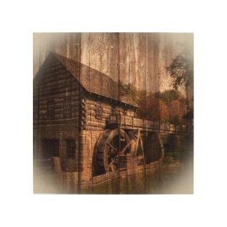 Roue d'eau en bois de moulin de ferme de grange impression sur bois