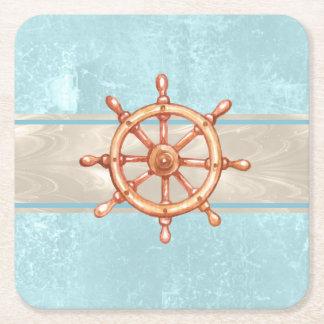 Roue ID385 de barre de bateau d'aquarelle Dessous-de-verre Carré En Papier