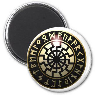 Roue noire de Sun Magnet Rond 8 Cm