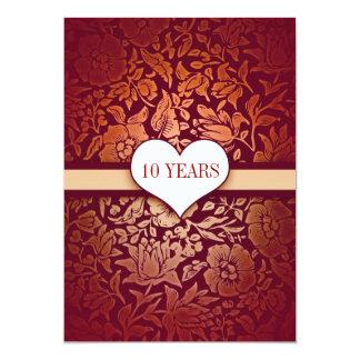 rouge 10 ans de mariage d'anniversaire carton d'invitation  12,7 cm x 17,78 cm
