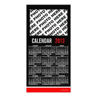 Rouge 2013 noir de carte photo de calendrier photocartes personnalisées