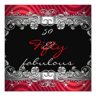 Rouge 50 et cinquantième fête d'anniversaire carton d'invitation  13,33 cm