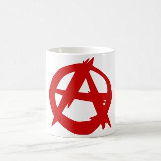 Rouge A de symbole d'anarchie et cercle sans règle Tasse