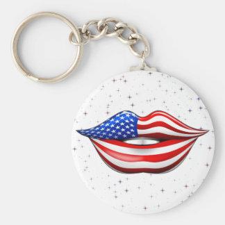Rouge à lèvres de drapeau des Etats-Unis sur le Porte-clé Rond