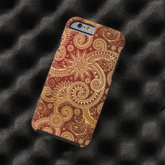 Rouge abstrait et motif floral d'or coque iPhone 6 tough