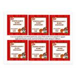 Rouge All-Star de 6 étiquettes de faveur Cartes Postales