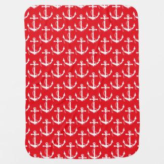 Rouge Aweigh d'ancres nautiques Couvertures Pour Bébé