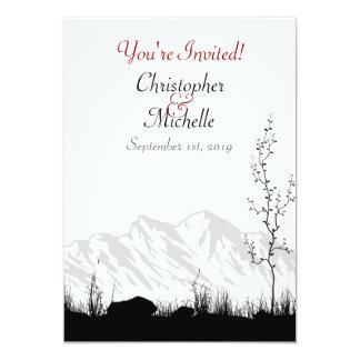 Rouge blanc de noir d'invitation de mariage de carton d'invitation  12,7 cm x 17,78 cm