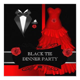Rouge blanc formel de cravate noire de dîner carton d'invitation  13,33 cm