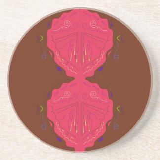 Rouge-brun arabe d'ornements de luxe dessous de verre en grès