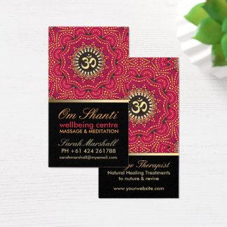 Rouge+Carte de visite de bien-être de yoga de l'OM Cartes De Visite