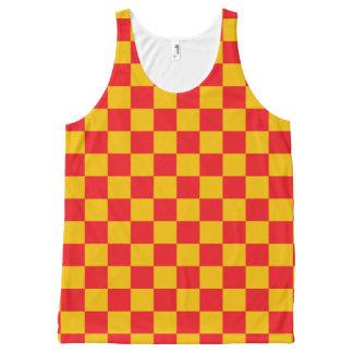 Rouge Checkered et or Débardeur Tout-imprimé