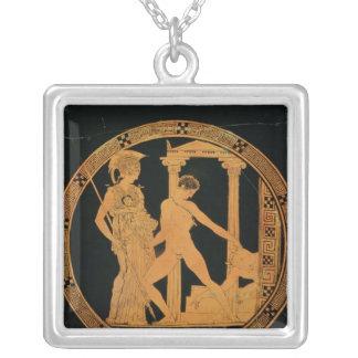 Rouge-chiffre tasse dépeignant Athéna, Theseus Pendentif Carré