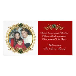 Rouge classique de carte photo de Noël Photocartes Personnalisées