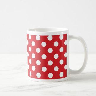 """Rouge classique de décor """"avec le pois blanc. """" mug blanc"""