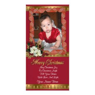 Rouge classique et or de carte photo de Noël Photocartes Personnalisées