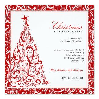 rouge coloré de l'arbre de Noël 311-Swirly   Carton D'invitation 13,33 Cm