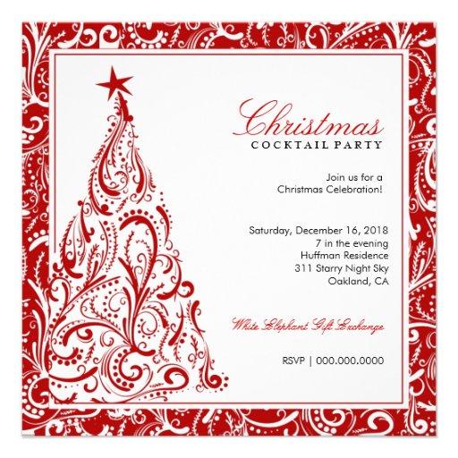rouge coloré de l'arbre de Noël 311-Swirly | Faire-parts