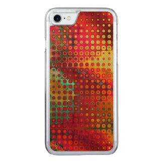 Rouge coloré frais, arc-en-ciel des points coque iphone 7 en bois