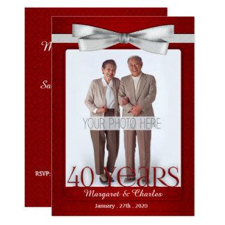 rouge d'anniversaire de mariage 40-Years et blanc Carton D'invitation 12,7 Cm X 17,78 Cm