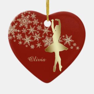 Rouge de ballerine de flocon de neige d'or ornement cœur en céramique