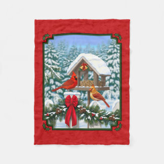 Rouge de Birdfeeder de Noël de cardinaux