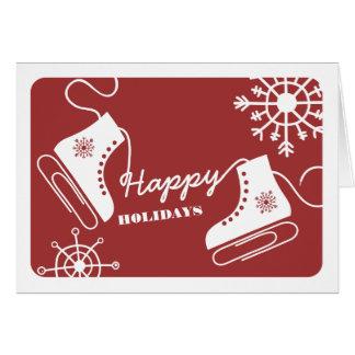 Rouge de carte de Noël d'affaires de patins de