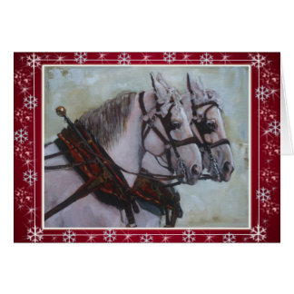Rouge de carte de Noël de cheval de trait de