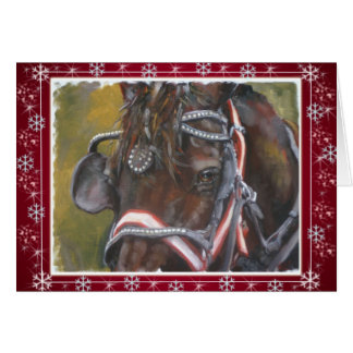 Rouge de carte de Noël de Percheron