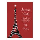 Rouge de carte de Tour Eiffel de vacances Invitations Personnalisables