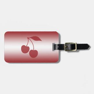 Rouge de cerise au gradient blanc étiquette à bagage