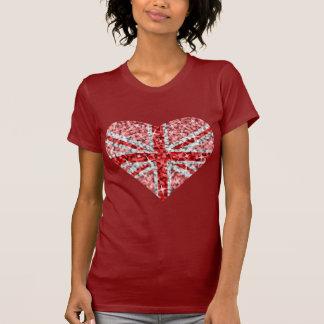 Rouge de dames rouges BRITANNIQUES de coeur de T-shirt