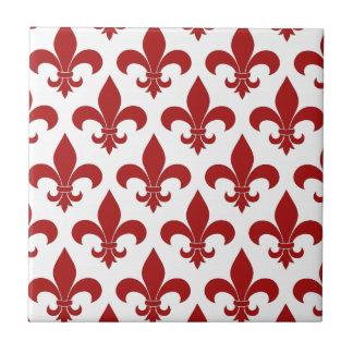 Rouge de Fleur de lis French Petit Carreau Carré