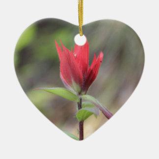 Rouge de fleur sauvage ornement cœur en céramique