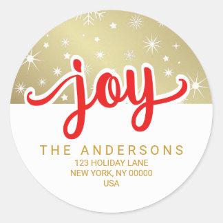 Rouge de joie de Noël et adresse manuscrite d'or Sticker Rond