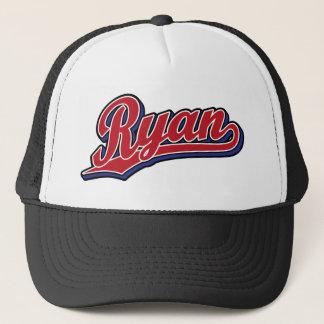 Rouge de luxe de Ryan sur le logo bleu de Casquette