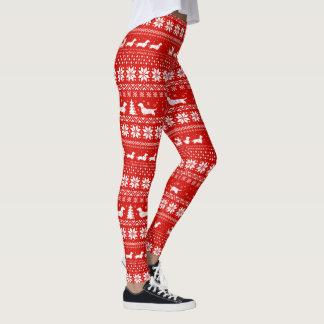 Rouge de motif de chandail de Noël de teckels Leggings