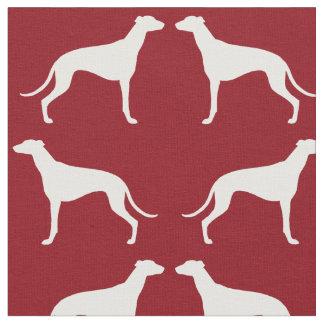 Rouge de motif de silhouettes de lévrier tissu