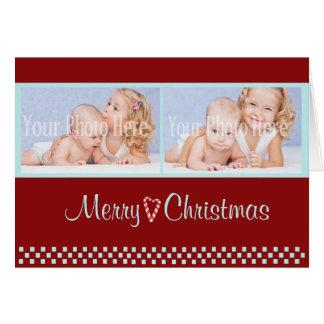 Rouge de photo de double de Noël de sucre de canne Carte De Vœux