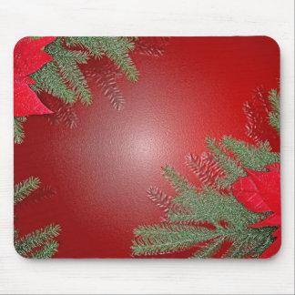 Rouge de poinsettia de Noël Tapis De Souris