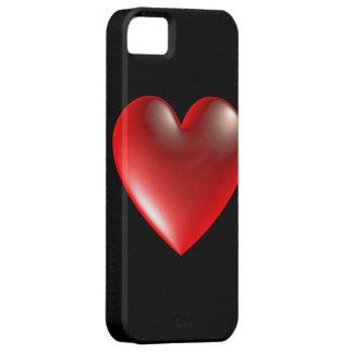 rouge de symbole de coeur du style 3D Étuis iPhone 5