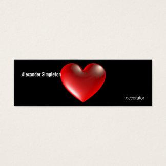 rouge de symbole de coeur du style 3D Mini Carte De Visite
