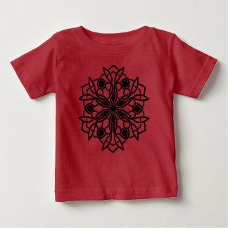 ROUGE de T-shirt de petites filles avec le mandala