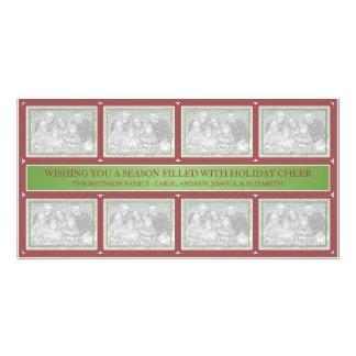 Rouge de vert de collage de cadre de Noël Photocartes Personnalisées